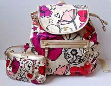 2 PC Set COACH Kyra Poppy Floral Print Backpack Handbag & Wristlet Set Wallet