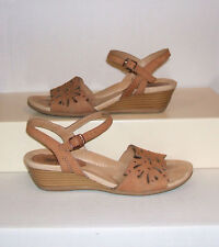 EARTH Women's ORCHID Sand Brown Leather Wedge Slingback Sandals Size 7.5 D WIDE