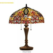 Tiffany-style Victorian 2-light Table Lamp Beige Blue Red Stained Glass Shade