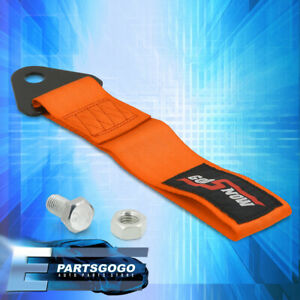 Universal Godsnow JDM Track Recovery Tow Rope Strap Bumper Front & Rear Orange