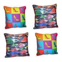 Pack Of 4 Printed Multi Colour Filled Cushion Cover 16x16 Bedroom / Living Room