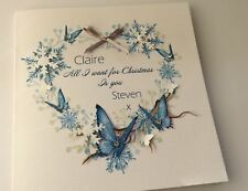 Personalised Handmade Christmas Card,butterflies, Wife,Mum,partner,daughter,name