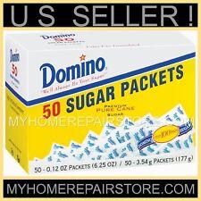 DOMINO SUGAR PACKS—50 PACKETS —1 TSP EACH—SWEETENER 4 COFFEE,TEA & KEURIG K CUPS