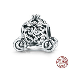 925 Sterling Silver My Princess Pumpkin Carriage Charm Beads fit Original Bangle