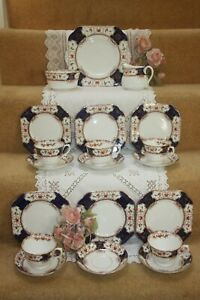 "Vintage Osborne China Tea set ""Glendale"" Cobalt Imari c 1909 - 40 Excellent   8"