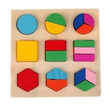 Puzzle en Bois Enfant Jeux éducatifs Motif Bloc Jouet Cadeau Bébé #C