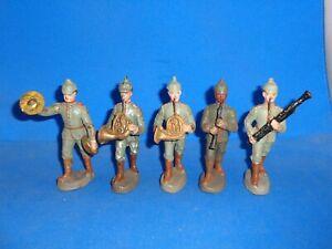 Elastolin 10cm Five WWI German Marching Bandsmen Lineol