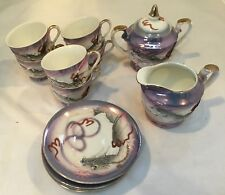 Antique Japanese Moriage Hand Painted Dragonware Raised Dragon Demitasse Tea Set