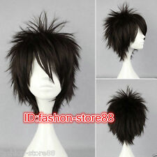 New Men Boy Black Short Layered Fringe Punk Rock Hair Wigs+ Wig cap