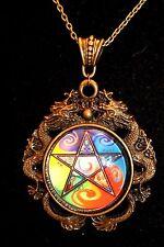 Wiccan Pagan Dragon Pendant Necklace Pentagram, Green Man, 30mm Glass Cabochon