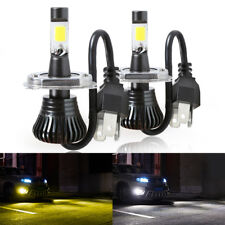2x H4 HB2 9003 80W LED Driving Fog Light Bulb Hi/Lo Beam Dual Color White Yellow