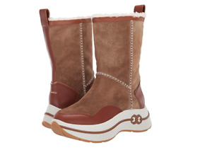 Tory Burch NEW Gemini Link Platform Shearling Brown Suede Boots $458 MANY SIZES