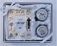 BABY BOY'S PHOTO FRAME w/ FIRST CURL & FIRST TOOTH KEEPSAKE BOXES - NIB