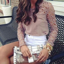 Fashion Womens Lace Crochet Emboriey Long Sleeve Casual Shirt Loose Blouse Tops