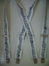 "Mens Suspenders X Style 1 1/2""-2"" MUBKMUSIC.  Clips, Belt Loop Snaps.USA Made"