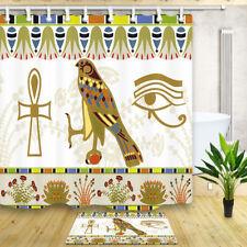 "70"" Egypt Bird and flowers Fabric Waterproof Shower Curtain Bathroom Mat Hooks"