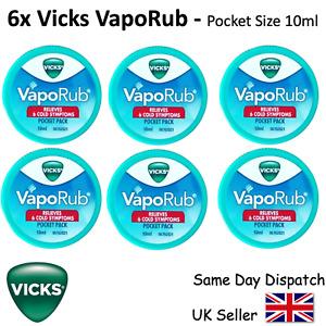 6x VICKS VAPORUB - FAST RELIEF COLD & COUGH & BLOCKED NOSE - 10ml pocket size