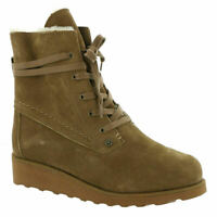 BEARPAW Krista Wide Women's Ankle Boot Size 10 Never Wet Leather Wool Lining