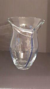 "Gorgeous Designs Art Glass Vases, Blue Pin Stripe Split Rim 9"" Vase"