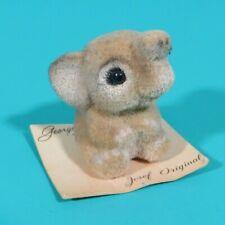 """Josef Originals George Good Baby Elephant Flocked 1.25"""" Figure On Card Vintage"""