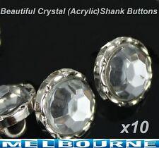 10x Crystal Clear Acrylic Rhinestone Sewing Shank Buttons Craft Scrapbooking DIY
