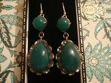 Beautiful Antique Art Deco: Deep Green Chrysoprase Gems Sterling Silver Earrings