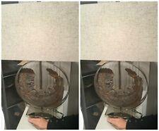 "PAIR COASTAL BEACH 29"" POLISHED NICKEL METAL AMBLER TABLE LAMPS FAUX DRIFTWOOD"