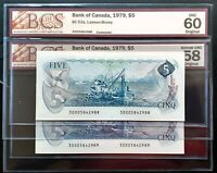 1979 Bank of Canada $5 Consecutive Pair Lawson-Bouey BCS UNC60 & AU58 Original