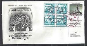 PALESTINE-UN 1988 HUMAN RIGHTS DECLARATION W/PALESTINE 100 MILS BLOCK OF 4
