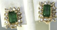 14K GOLD 2 CARAT EMERALD DIAMOND OMEGA EARRINGS