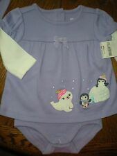 Gymboree NWT Baby Girl 3-6 Playful penguin lavender swingtop bodysuit