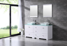 "Bathroom Double 60"" Tempered Glass Vanity Top Cabinet MDF Wood w/Mirror Faucet"