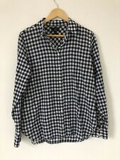 J Crew Women Shirt Size 12 Blue White Boy Fit Gingham Long Sleeve Button Down