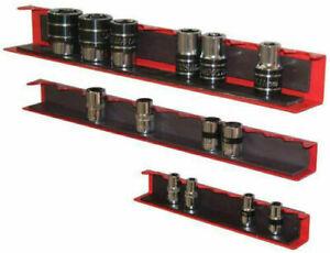 "3 Piece Magnetic Socket Holder Tray Rack Rail Shallow Deep 1/2"" 3/8"" 1/4"