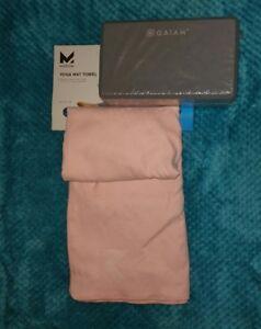 MISSION GAIAM Yoga Brick VaporActive Mat Cover Microfiber Towel Pink Gray Pilate