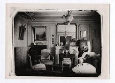 PHOTO ANCIENNE Lampe Intérieur Cheminée Miroir Horloge Chaise Canapé vers 1900