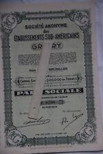 lot de 8  actions GRATRY Société anonyme des établissements Sud-américains