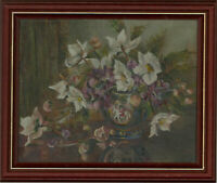 A. Smith - 20th Century Oil, Still Life, White Spring Flowers