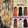 One Piece Clip in Hair extensions Ombre BROWN AS Human Hair Real Full Head Thick