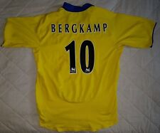 Arsenal VINTAGE FOOTBALL SHIRT TOP * BERGKAMP 10 * Giallo 2003 2004 via O2 XL
