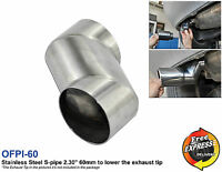 """Stainless Steel Exhaust S-pipe 2.30"""" 60mm to lower the height of the exhaust tip"""