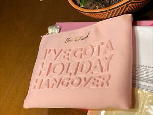 """Too Faced """"I'VE GOT A HOLIDAY HANGOVER """" Pink Cosmetic Makeup Bag ~ New !!"""