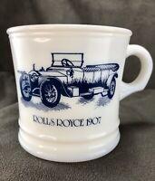 Vintage Surrey White Milk Glass Shaving Mug Cup Rolls Royce 1907 Mens Grooming