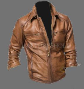 Mens Vintage Brown Biker Motorcycle Cafe Racer Real Leather Jacket