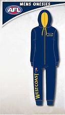 West Coast Eagles AFL Mens Adult Navy Printed Hooded Onesie Pyjama Size M New