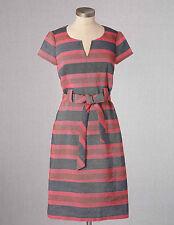 NEW $148 BODEN NOTCH NECK STRIPED MULTICOLOR TIEWAIST SHIFT DRESS WH458 - US 14R