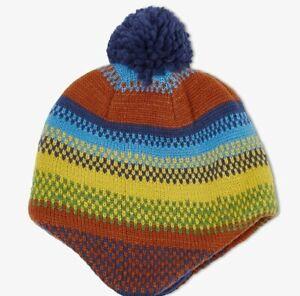 John Lewis & Partners Children's Stripe Trapper Hat / Multi Size Small New