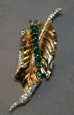RARE Alfred Philippe Crown Trifari Sterling Fur Clip/Pin Catepillar on Leaf!
