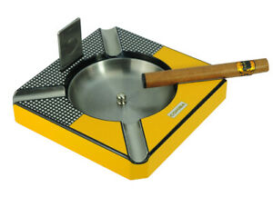 Cohiba 4 Cigar Square Wooden Ashtray Yellow Carbon Fiber Matt Finish Cutter 45c