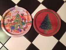 Set lot 2 Christmas metalware tin decorative plates tree Susan zulauf children